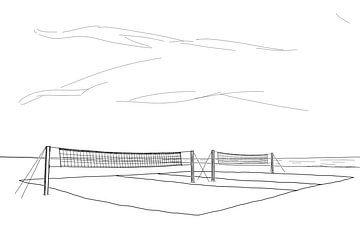 Volleybalveld op het Strand van Drawn by Johan