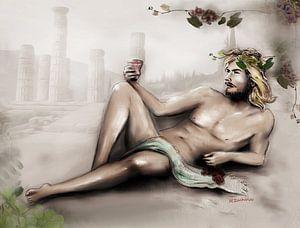 Dionysus god van de wijn - wijn god Bacchus