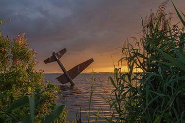 Vliegtuig in Harderwijk. Airplane in Harderwijk.
