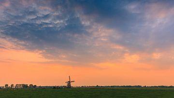 Zonsondergang bij molen Koningslaagte, Zuidwolde
