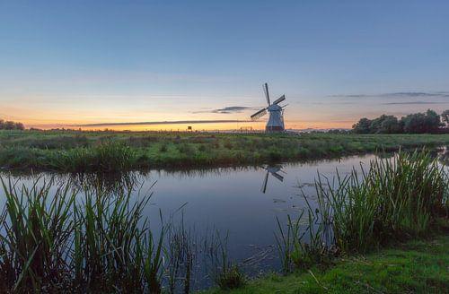 Landschap, zonsondergang bij de Witte Molen  van