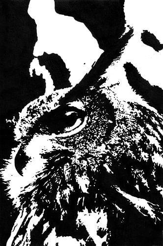 Europese Oehoe (Bubo bubo) zwart wit inkttekening