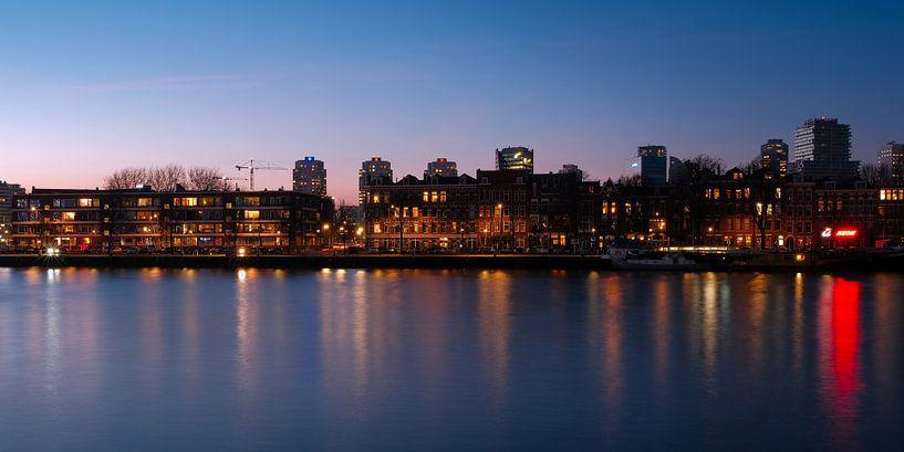 Prins Hendrikkade, Rotterdam na zonsondergang van Bastiaan Vogel