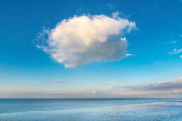 Zomerwolk boven het Wad bij laag water. van Harrie Muis