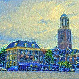 Schilderij Zwolle Rodetorenplein met Peperbus in stijl Van Gogh van Slimme Kunst.nl
