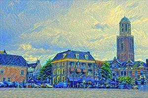 Schilderij Zwolle Rodetorenplein met Peperbus in stijl Van Gogh