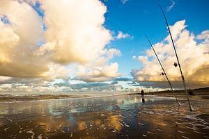 hengelaars op het strand