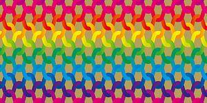 Regenboog breiwerk van Ramon Schellevis