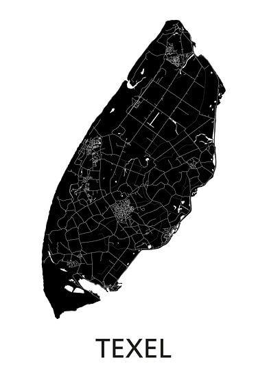 Texel Landkaart | Zwartwit