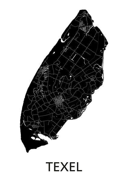 Texel Landkaart | Zwartwit van Wereldkaarten.Shop