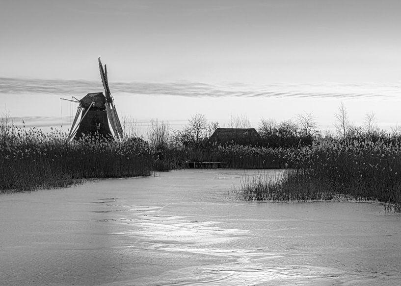 Noordermolen in zwart wit van Marga Vroom