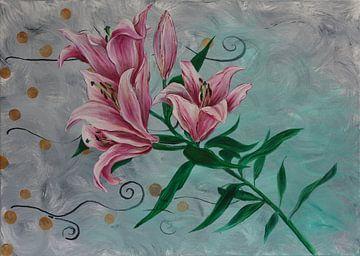 Pink Lilies van sarah Loecker