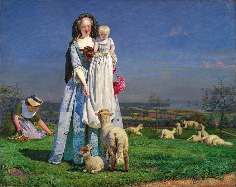 Ford Madox Brown. Pretty Baa-Lambs von 1000 Schilderijen