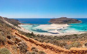 De weg naar Balos Beach, Kaliviani, Crete, Griekenland van