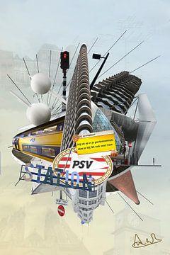 Collage ville d'Eindhoven avec stade PSV accessible en train. sur Marianne van der Zee