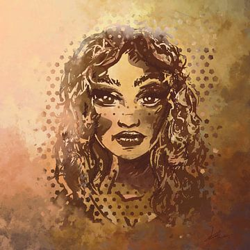 Schönheit in Blattgold - Porträt einer Dame mit goldenen Locken von Emiel de Lange