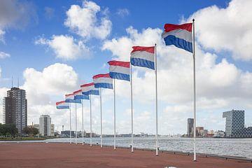Nederlandse vlaggen  aan de Rotterdamse Nieuwe Maas van Rick van der Poorten