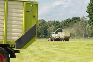 hakselaar en transport van gras met tractor en wagen van