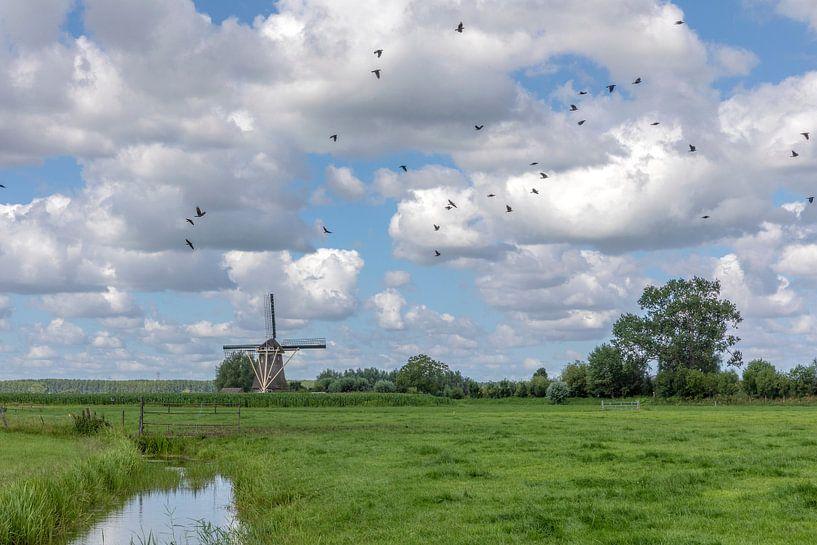 Hollands landschap met molen en wolkenlucht van André Russcher