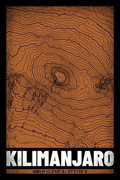 Kilimandscharo | Landkarte Topografie (Grunge) von ViaMapia