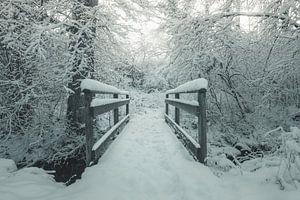 Besneeuwde houten brug in de ochtend winterse magie van Besa Art