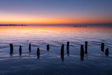 Pfähle auf dem Wattenmeer bei Wierum - Natürliches Wattenmeer von Anja Brouwer Fotografie