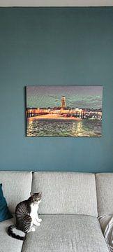 Klantfoto: Romantisch schilderij van de skyline van Deventer, vanaf de andere kant van de IJssel