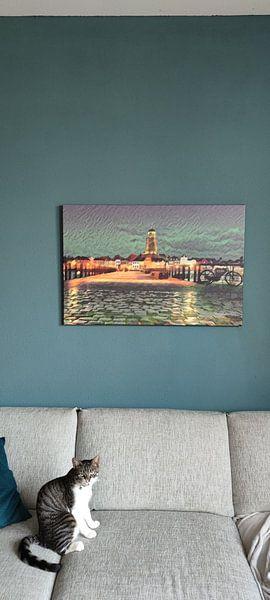 Klantfoto: Romantisch schilderij van de skyline van Deventer, vanaf de andere kant van de IJssel van Slimme Kunst.nl
