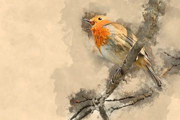 Roodborstje wat zing je vroeg (kunstwerk) van Art by Jeronimo