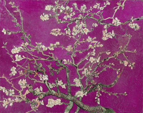 Amandelbloesem van Vincent van Gogh (fuchsia) von Meesterlijcke Meesters