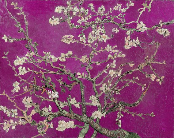 Amandelbloesem van Vincent van Gogh (fuchsia)