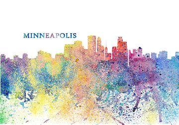 Minneapolis Minnesota Skyline Silhouet Impressionistisch van Markus Bleichner