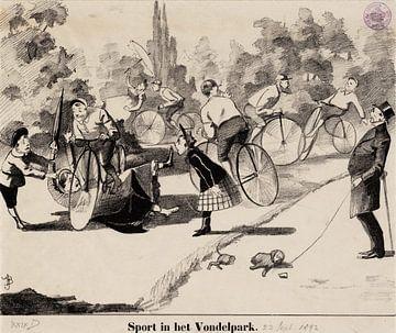 Amsterdam, Sport in het Vondelpark, Johan Braakensiek, 1892 van Atelier Liesjes