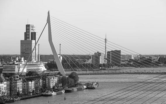 De Erasmusbrug met Ms Rotterdam in Rotterdam