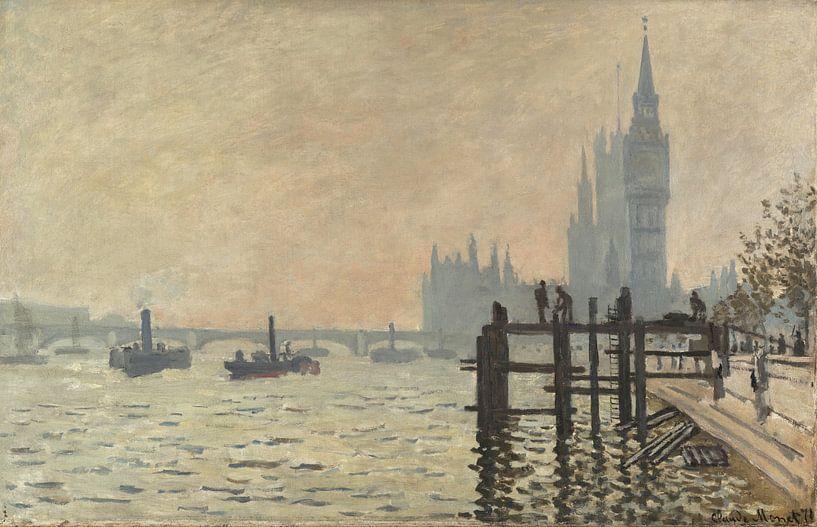 Die Themse unter Westminster, Claude Monet von Meesterlijcke Meesters
