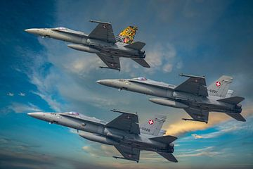 F/A 18 Hornet Formatie, Zwitserland van Gert Hilbink