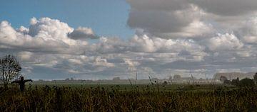 Schilderachtig fries landschap met vogelverschrikker van Peter Bouwknegt