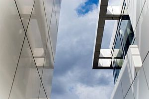 Kantoorgebouw van Richard Meier, in Hilversum van