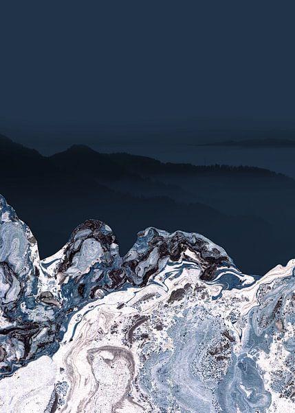 BLUE MARBLED MOUNTAINS v2 van Pia Schneider