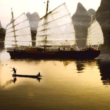 Sfeervol schilderachtig werk van vissers (Fischerboot) van Cor Heijnen