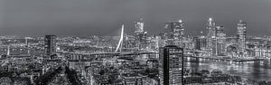 Nachtpanorama skyline Rotterdam in zwart-wit van