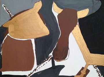 Giraf en koe van Petra de Kroon