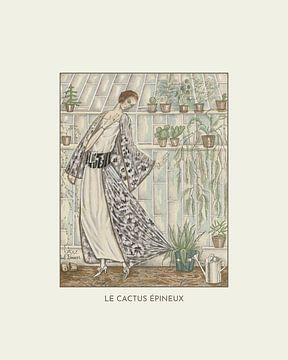 Le cactus épineux | De vrouw met haar planten en cactus | Floral, planten en landelijk | Art Deco mo van NOONY