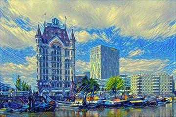 Schilderij Rotterdam: Witte Huis in de stijl van de Sterrennacht van Van Gogh van Slimme Kunst.nl