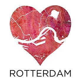 L'amour pour Rotterdam | Plan de la ville dans un coeur sur Wereldkaarten.Shop