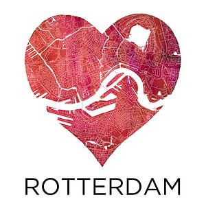 L'amour pour Rotterdam | Plan de la ville dans un coeur