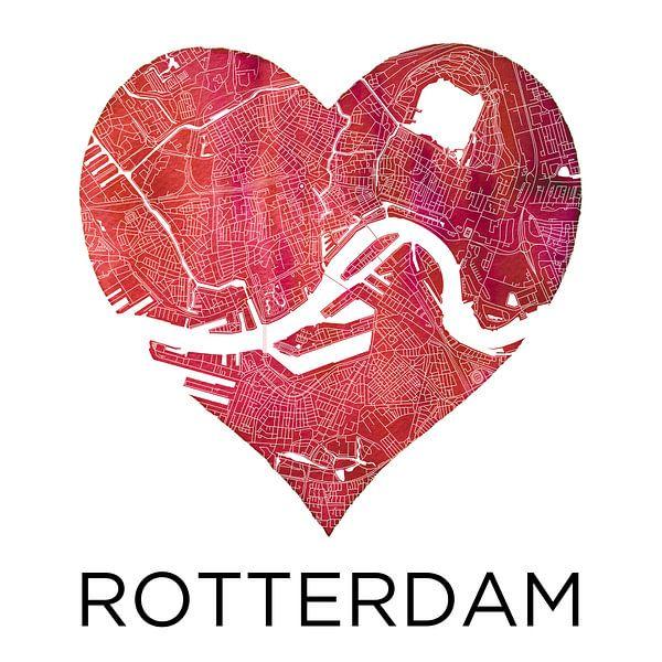 Liefde voor Rotterdam  |  Stadskaart in een hart van Wereldkaarten.Shop