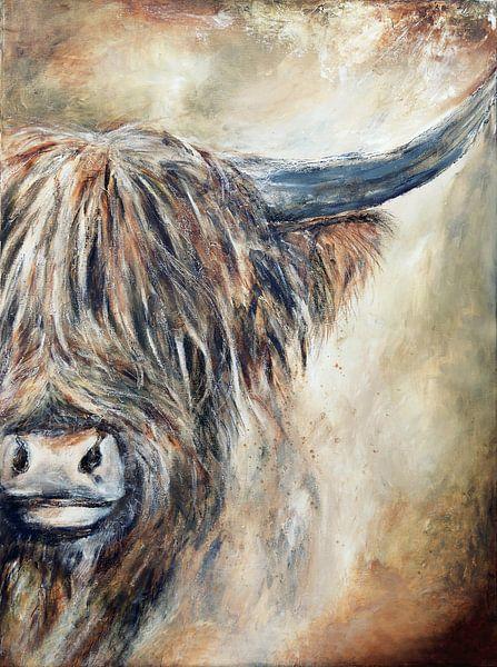 Schottisches Hochlandrind mit Acrylfarbe von Els Fonteine
