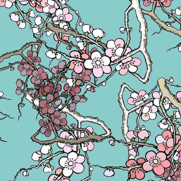 GRAFISCHE PRINT KERSENBLOESEM 2 van MY ARTIE WALL