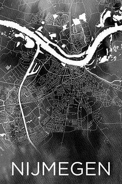 Nijmegen | Stadtplan auf schwarzer Aquarellfarbe von Wereldkaarten.Shop